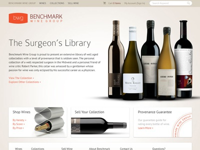 Benchmark Concept 3 wine e-commerce layout simple clean neutral warm