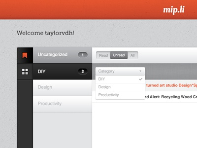 Dashboard Interface categories list interface contrast simple clean