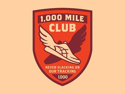 1,000 Mile Club run club badge run running