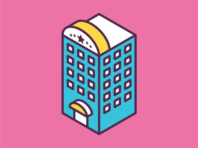 Isometric Hotel Icon ui building isometric graphic  design graphic isometric design vector illustration flat design