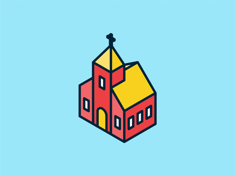 Isometric Church Icon ui building isometric graphic  design graphic isometric design vector illustration flat design