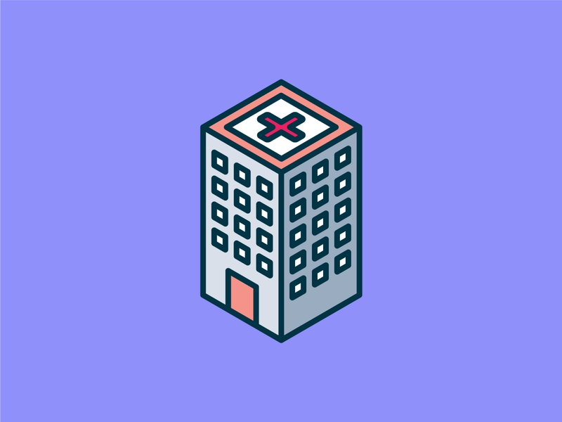 Isometric Hospital Icon ui building isometric graphic  design graphic isometric design vector illustration flat design