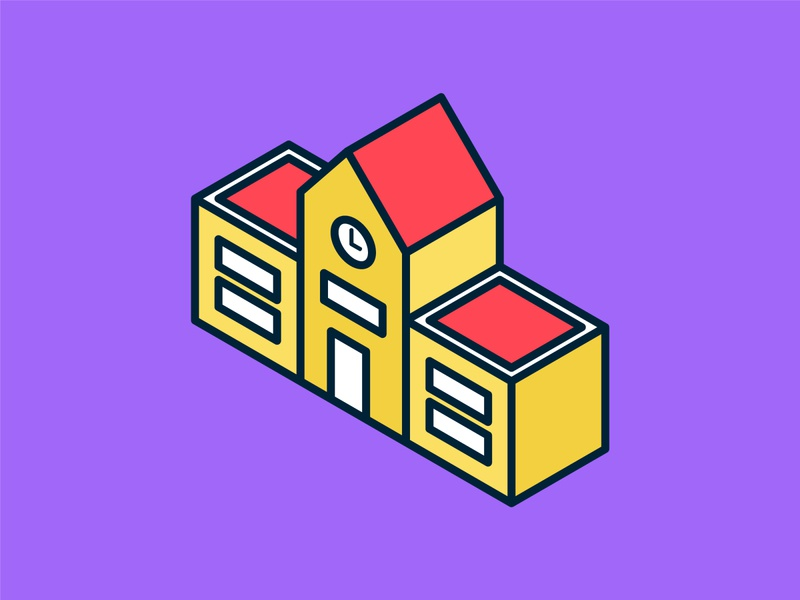 Isometric School Icon ui building isometric graphic  design graphic isometric design vector illustration flat design