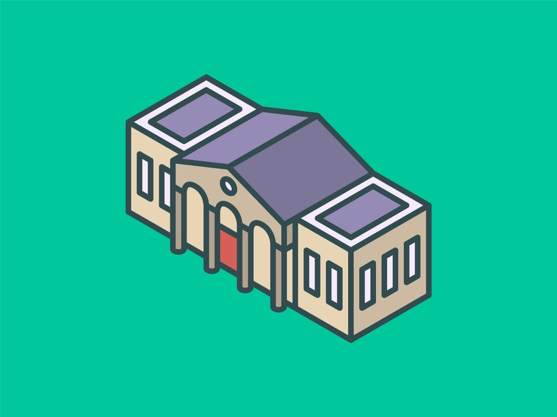 Isometric University Icon ui building isometric graphic  design graphic isometric design vector illustration flat design