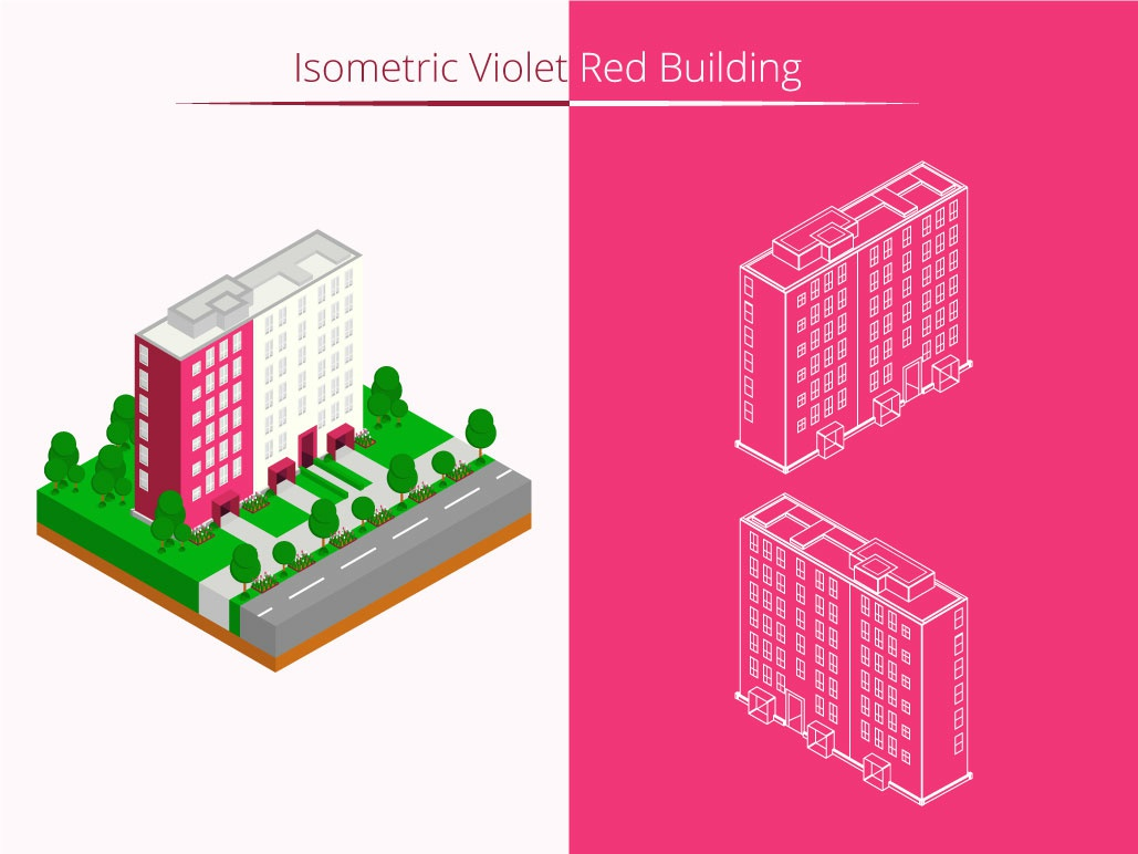 Isometric Violet Red Building graphic isometric graphic  design isometric design building vector illustration flat design