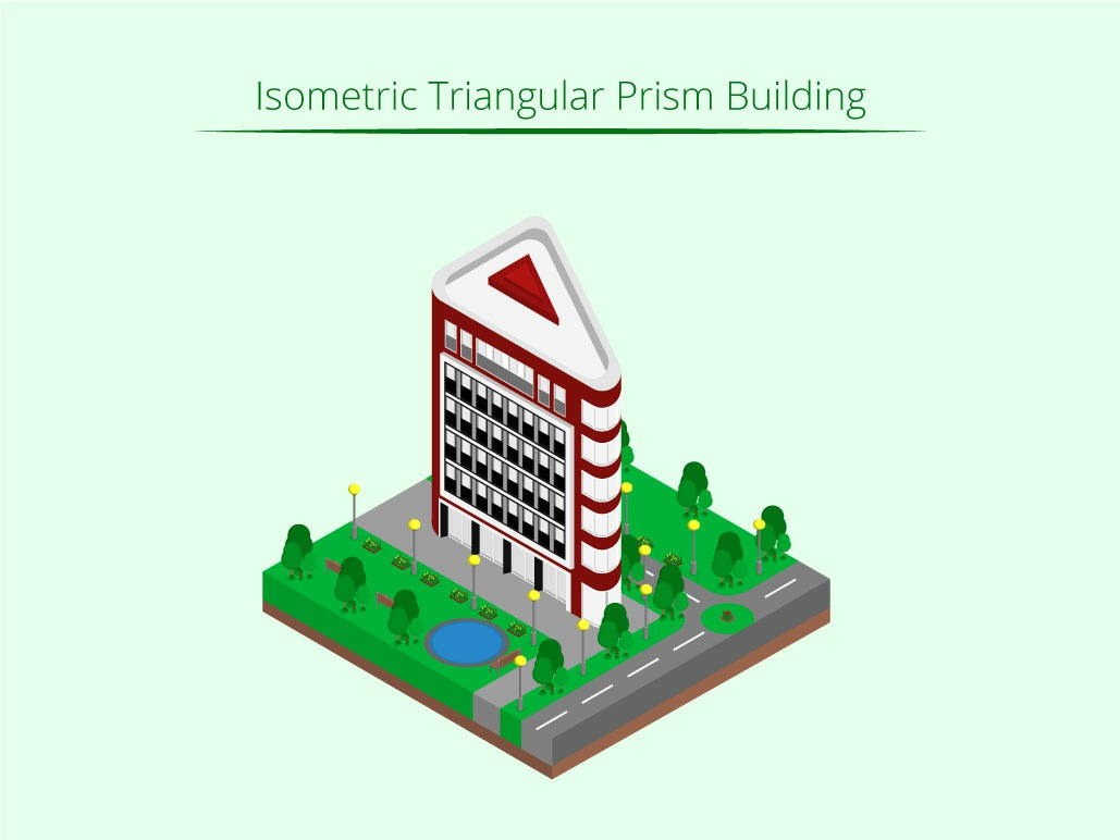 Isometric Triangular Prism Building isometric graphic  design graphic isometric design building vector illustration flat design