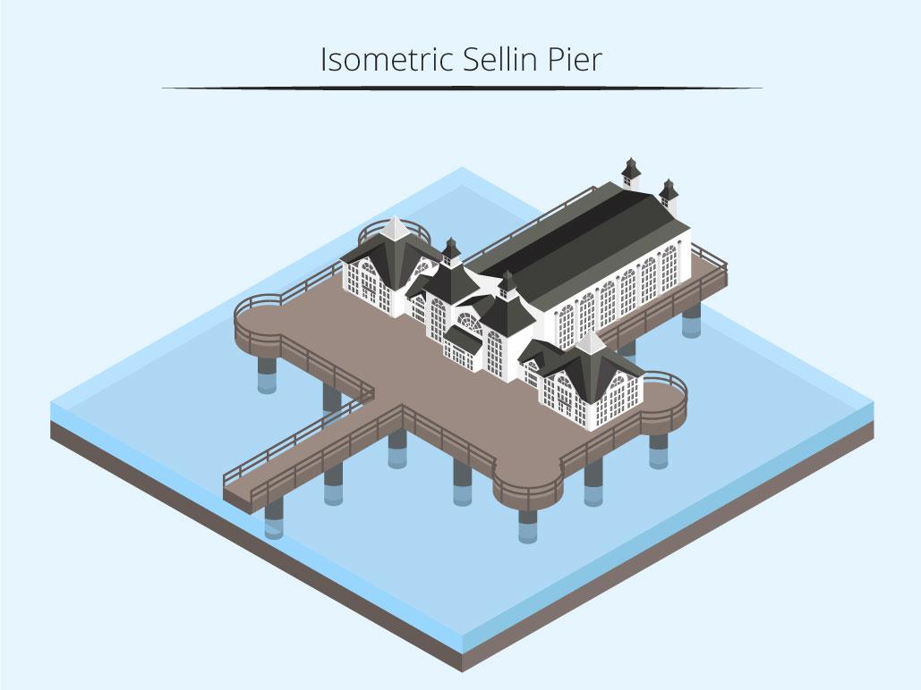 Isometric Sellin Pier isometric graphic  design graphic isometric design building vector illustration flat design