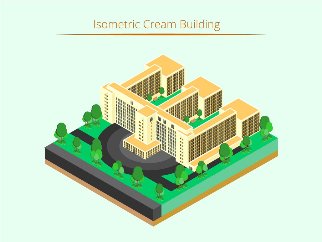 Isometric Cream Building isometric graphic  design graphic isometric design building vector illustration flat design