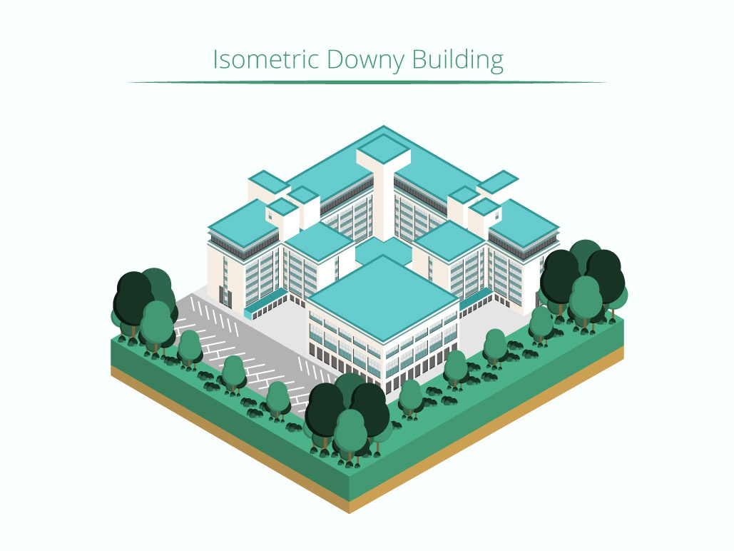 Isometric Downy Building isometric graphic  design graphic isometric design building vector illustration flat design