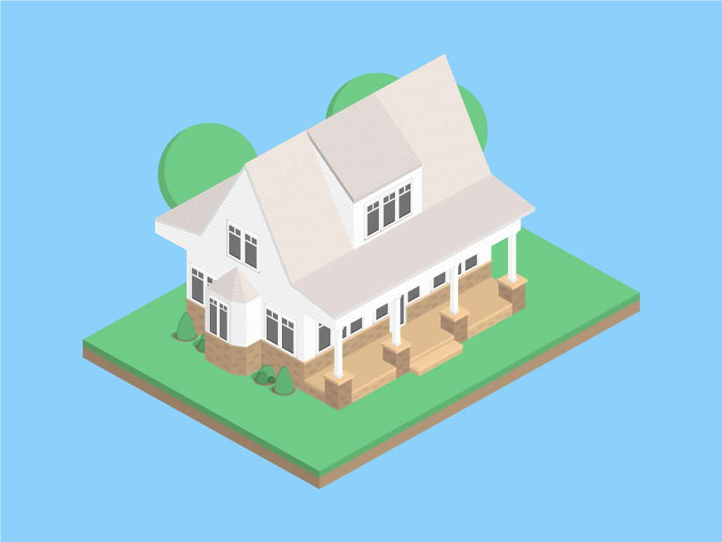Isometric Dawn Pink House isometric graphic  design graphic isometric design building vector illustration flat design
