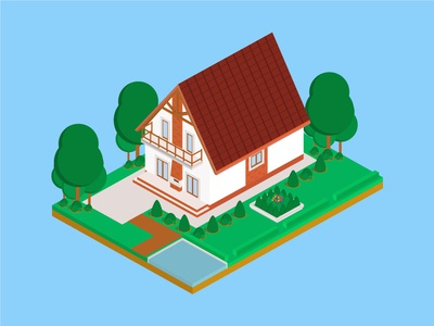 Isometric Mocha House isometric graphic  design graphic isometric design building vector illustration flat design