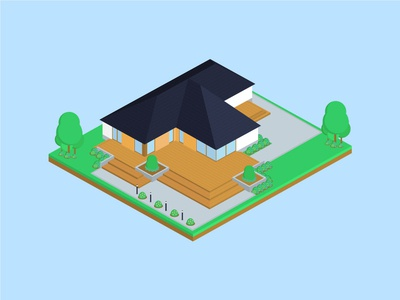 Isometric Mirage House isometric graphic  design graphic isometric design building vector illustration flat design