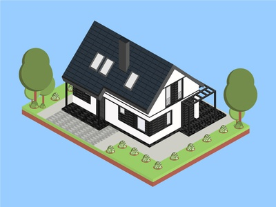 Isometric Ebony Clay House isometric graphic  design graphic isometric design building vector illustration flat design