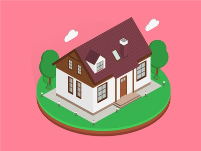 Isometric Lotus House isometric graphic  design graphic isometric design building vector illustration flat design