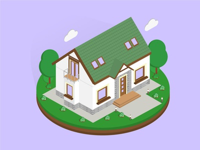Isometric Highland House isometric graphic  design graphic isometric design building vector illustration flat design