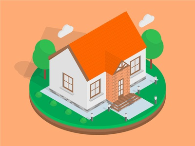 Isometric Orange House isometric graphic  design graphic isometric design vector illustration flat design