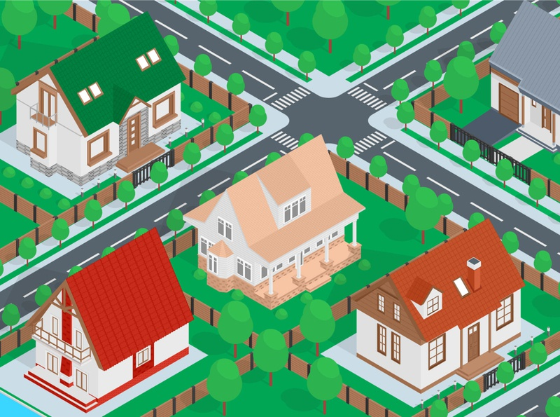 Isometric Combo Houses Map ui isometric graphic  design graphic isometric design vector illustration flat design