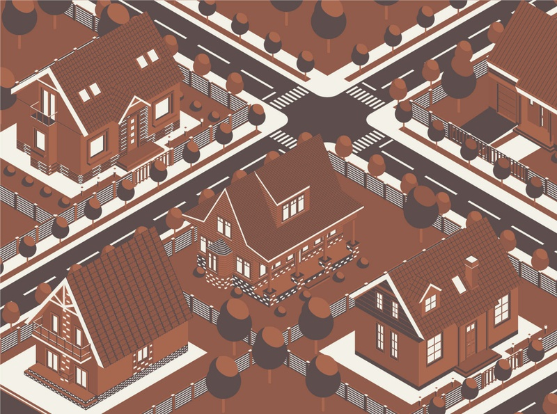 Isometric Combo Vintage Houses Map ui isometric graphic  design graphic isometric design vector illustration flat design