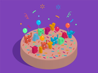 Happy Birthday isometric graphic  design graphic isometric design vector illustration flat design