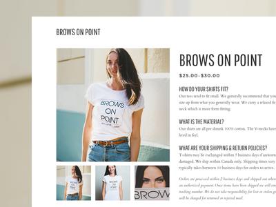 Brows on Point t-shirt shirt web woocommerce ecommerce product white minimal website webdesign web design