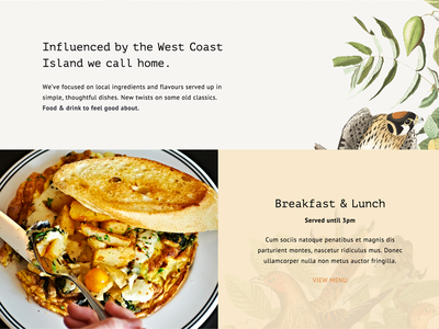 Another WIP restaurant food photography illustration typography minimal white clean web design website wordpress