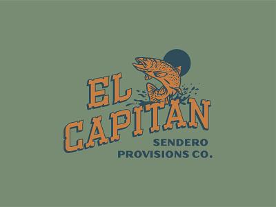El Capitan camping vintage design sendero fly fishing fishing adventure illustration outdoors