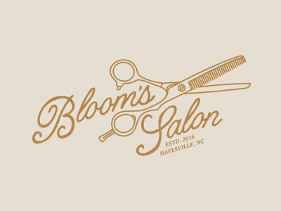 Bloom's Salon mountains nc barber type line art antique vintage beauty illustration salon
