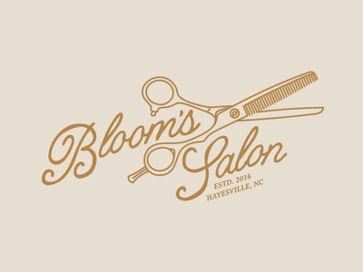 Bloom's Salon mountains nc barber type line art antique vintage beauty illustration salon