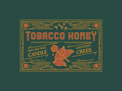 Tobacco Honey Label hiking mountains candle adventure honey nature outside outdoors tobacco