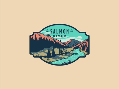 Salmon River west river mountains salmon sendero line art illustration outdoors idaho