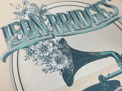 Leon Bridges poster screeprint flowers typography hatching drawing illustration