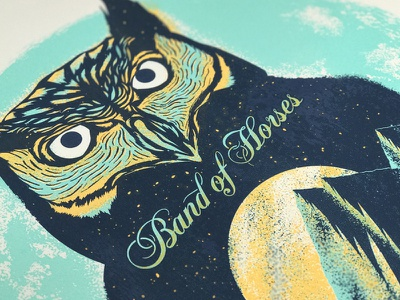 Band of Horses teal typography screeprint poster illustration owl drawing