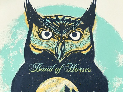 Band of Horses typography teal screeprint poster owl illustration drawing