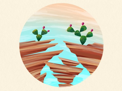 Desert Landscape cactus desert sunset wip wacom digital painting landscape illustration
