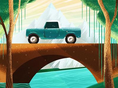 Mountain drive sunset wip wacom digital painting landscape illustration