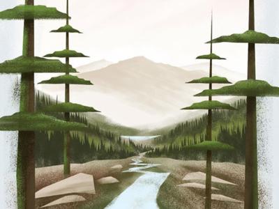 Oregon Landscape forest trees mountain wacom illustration