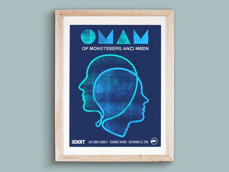 Of Monsters and Men Poster teal navy minimal design screen print typography drawing poster illustration