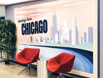 Greetings From Chicago Mural mural chicago typography vector wacom design drawing poster illustration