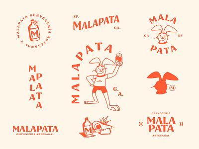 Malapata - Brewery rabbit mascot logo character brewery branding brewery logo craft beer typography illustration design branding logo
