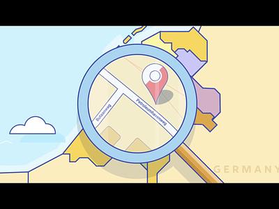 Volcano Animation - Amsterdam netherlands map world magnifying glass amsterdam construction flat motion animation design