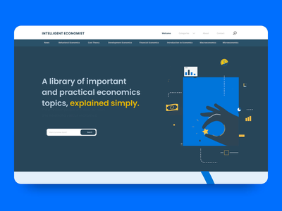 Intelligent Economist - Homepage animation illustration call to action blog finance economy landing page webdesign branding motion typography web ui ux animation vector design