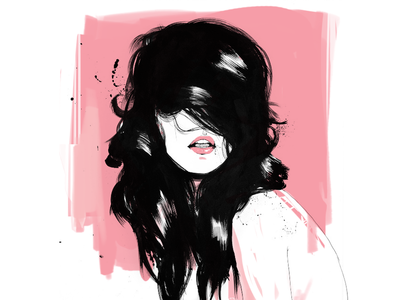Hair love lips lipstick fashion beauty pink girl female woman ink illustration hair