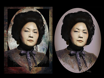 Portrait of my Grandmother japanese digital painting portrait woman grandma grandmother