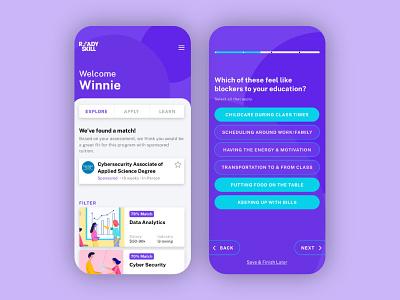 Colorful concept UI bold purple quiz education ui concept