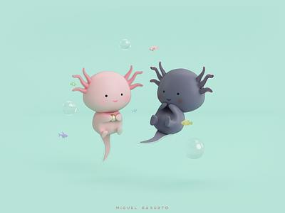 Axolotls ajolote love mexico mexican color cinema 3d axolotl design savage