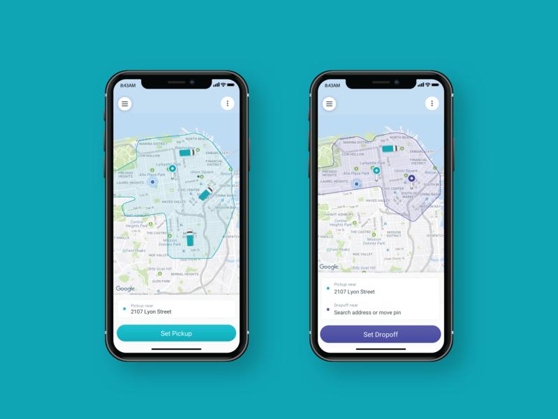 Chariot Mobile App Service Areas maps map design rider app chariot mobile application mobile app design ios service area color palette visual design