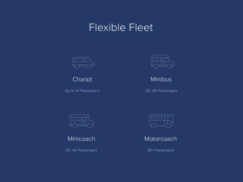 Chariot Flexible Fleet Icons fleet coach bus icons set icons illustration