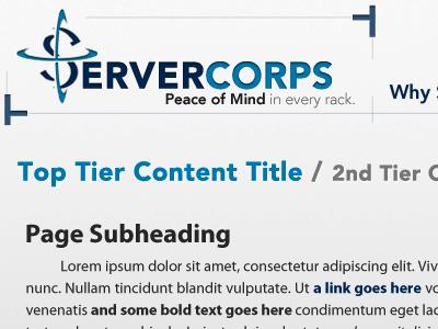 Generic Tiered Content servercorps redesign blue avenir myriad pro