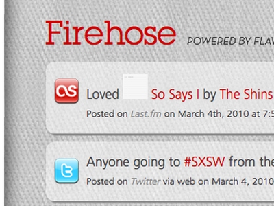 Firehose social stream redesign red