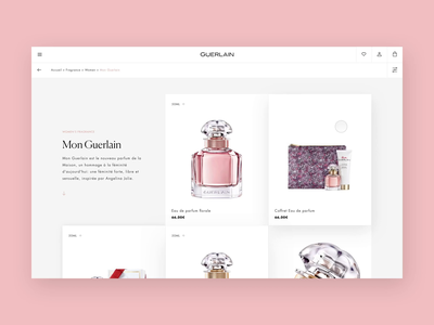 Guerlain - Product list page typography fragrance luxury branding e-comerce website design uidesign layout
